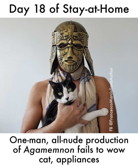 """One-Man, all-nude production of Agamemnon fails to wow cat, appliances."""